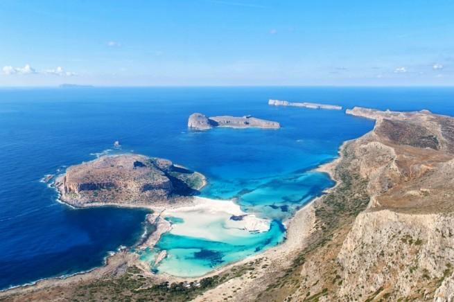 пляж Балос на Крите с высоты
