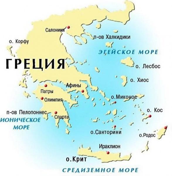 карта морей в Греции