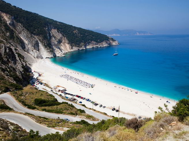 пляж Миртос на Кефалонии фото