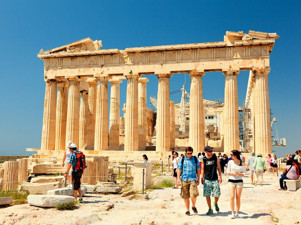 туристы Акрополь