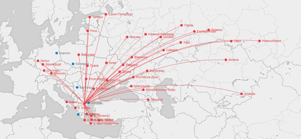 Карта маршрутов Ellinair