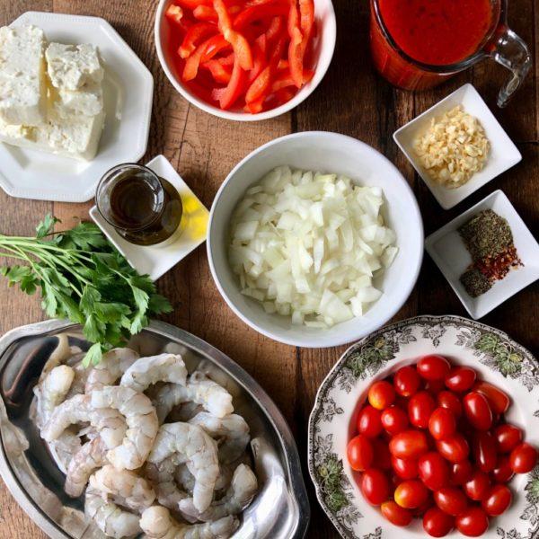 Ингредиенты для креветок саганаки